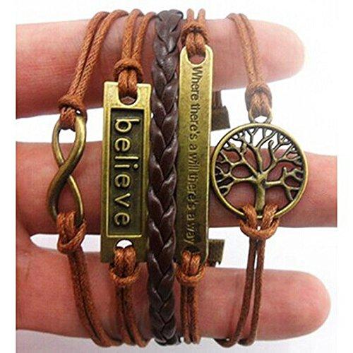 Pulseras para el día de San Valentín, pulsera multicapa hecha a mano con árbol ajustable de por vida Believe