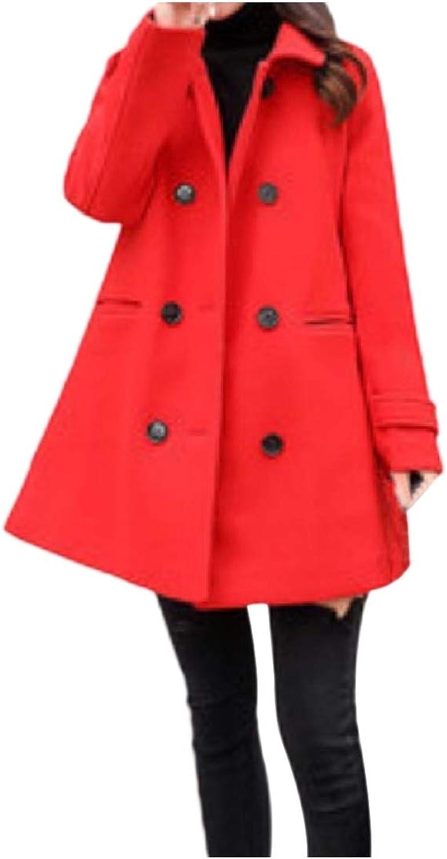 Doanpa Women's Turn Down Collar Button Classic Overcoat Pea Coat Jacket