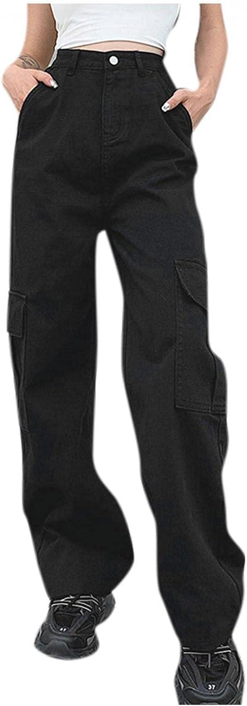 MASZONE Women's Baggy Straight Jeans High Waisted Pocket Stretch Wide Leg Denim Pants Casual Black Jeans Trousers Streetwear