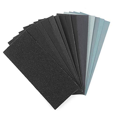 Feines Schleifpapier, Körnung 120 bis 3000, nass oder trocken, zum Polieren von Holzmöbeln, , Stein, Lack, Metall, Glas, 9 x 3,6 Zoll..(42Stück)