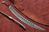 HUNTEX Custom Handmade Hand-Forged Ladder Pattern Damascus Steel 24 Inch Long Full Tang Pakka Wood Handle Razor Sharp Rambo Sword with Genuine Leather Sheath