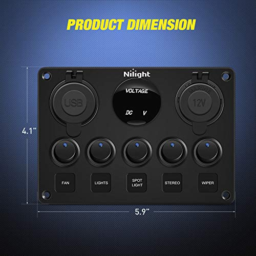 Nilight 90101E 5Gang Multi-Function 5 Gang Rocker Dual USB Charger + Digital Volmeter +12V Outlet Pre-Wired Switch Panel with Circuit Breakers for RV Car Boat Truck Trailer,2 Years Warranty