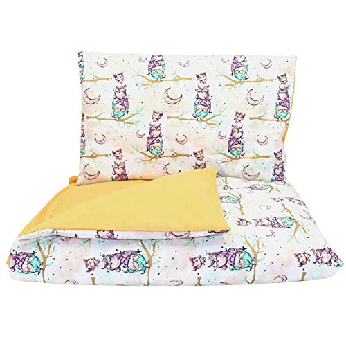 Callyna - Juego de fundas para cuna, 100 % algodón, 100% de la Unión Europea, funda nórdica de 135 x 100 cm y funda de almohada de 60 x 40 cm, diseño de búho mostaza.
