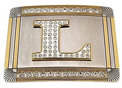 Initial Letter L Western Style Cowboy Rodeo Gold Costume Halloween Belt Buckle