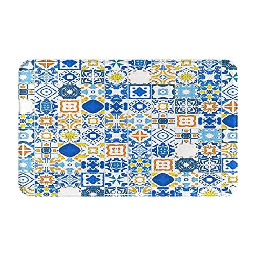 MJIAX Alfombras de baño, alfombras de baño,Mosaico Azulejo Portugués Efecto Arabesco Mediterráneo, Alfombras de Felpa Alfombras Felpudo Suave y Duradero Alfombras decoración Antideslizante