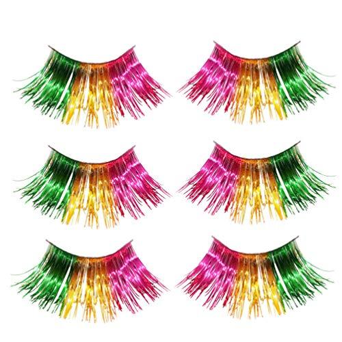 Minkissy pestañas postizas coloridas 3 pares de pestañas de arcoíris de halloween pestañas de oropel para mujeres niñas cosplay fancy ball halloween