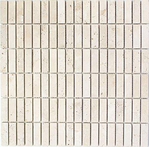 Mozaïek tegel travertin natuursteen beige stokjes chiaro antiek voor wand badkamer douche keuken tegelspiegel tegelverkleeding badkuip mozaïekmat mozaïekplaat   10 mozaïekmatten