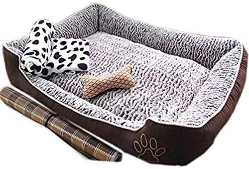 Leifeng Tower Lyxig hundsäng, Premium plysch hundsängar, Mycket mjuk hundsäng Avtagbar klädsel för djur soffa, helt tvättbar, avtagbar med matta, leksak, filt, brun, L