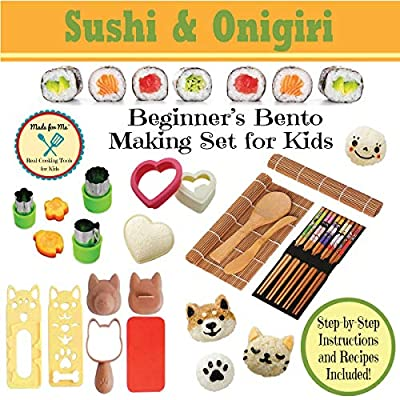 Sushi & Onigiri - Beginner's Bento Making Set for Kids - w/ Step-by-step Easy Recipes & Instructions / BEST SELLER! Ships FAST and FREE!