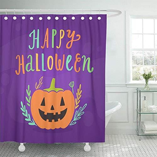 NOBRAND Oranje Abstract Gelukkig Halloween Vakantie Cartoon Mooie Blank Botanische Badkamer Gordijnen Waterdicht Polyester Stof Met Haken-W180xH200cm