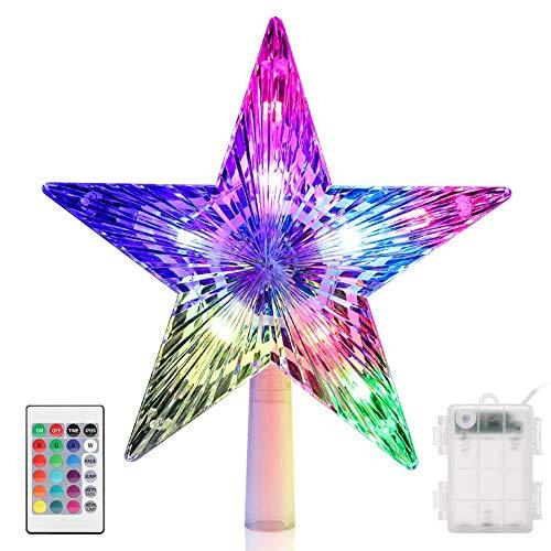 Estrella de Cinco Puntas Árbol de Navidad LED Decoraciones CrazyFire Star Treetop Light Decoración de Navidad Pentagram Adecuado para decoración fiestas navideñas(Con control remoto)