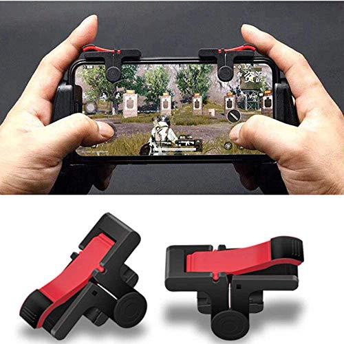 OFAY - 1 par de mandos móviles PUBG para iPhone, Android, TV, juegos y disparador, color negro y rojo
