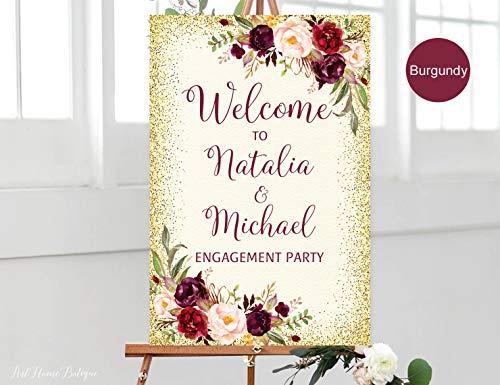 Yohoba Burgunderrot Verlobungsschild Welcome to Our Engagement Schild Weinrot Marsala Creme Gold