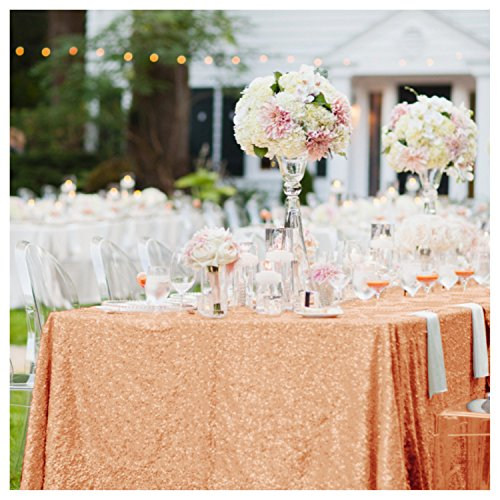 ShinyBeauty 60inx102in Sequin Tablecloth for Wedding/Party- (Rose Gold #65)