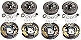 2-Pk Trailer Brake Backing Plates 10 in. (2LH 2RH) w/4 Hub/Drum Kit (5 on 4.5)
