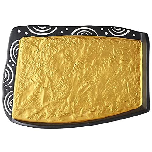 ZZRR Plato de Sushi Dorado Creativo de 10.5 Pulgadas, vajilla de cerámica con sobrecruzado, se Puede Usar en Horno de microondas, lavavajillas, Horno, Puede Contener Postre de Sashimi