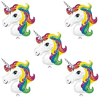 """Party Propz Unicorn Theme Foil Balloon Pack Of 5 Pcs, each 16"""" size For Unicorn Birthday Party Decorations"""