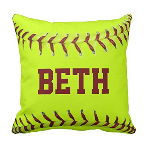 lucies Throw Pillow Cover Sports Personalized Softball Mojo Lady Decorative Pillow Case Home Decor Square 18 x 18 Inch Pillowcase