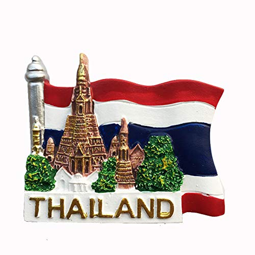 Bangkok Tailandia Bandera Nacional Estilo 3D Imán de nevera Regalo de recuerdo, Decoración para el hogar y la cocina Etiqueta magnética Bangkok Tailandia Refrigerador Imán Colección