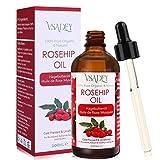 VSADEY Aceite de Rosa Mosqueta Orgánico 100ml, Aceite 100% Puro y Natural Prensado en Frío con Ácidos Grasos Insaturados, Vitamina C Antienvejecimiento Eliminar Cicatrices Revitaliza la Piel, Cabello
