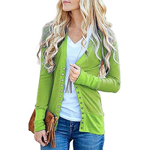 Top à manches longues en tricot Femmes, Toamen Chemise en tricot Boutonnage en maille Col en V Top blouse (L, vert)