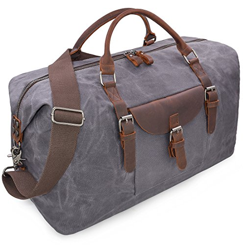 Mens Travel Holdall Duffle Bag Leather Weekend Overnight Bag Waterproof Large Canvas Holdall Vintage Totes Women Grey