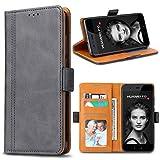 Bozon Huawei P10 Hülle, Leder Tasche Handyhülle für Huawei P10 Schutzhülle Flip Wallet mit Ständer & Kartenfächer/Magnetverschluss (Dunkel-Grau)
