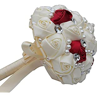 YOYO Hand Made Diamond Pearl Satin Roses Bridesmaid Bridal Artificial Bouquets Customization Bride Holding Bouquet Wedding For Photo Shooting, Valentine's Day, Birthday