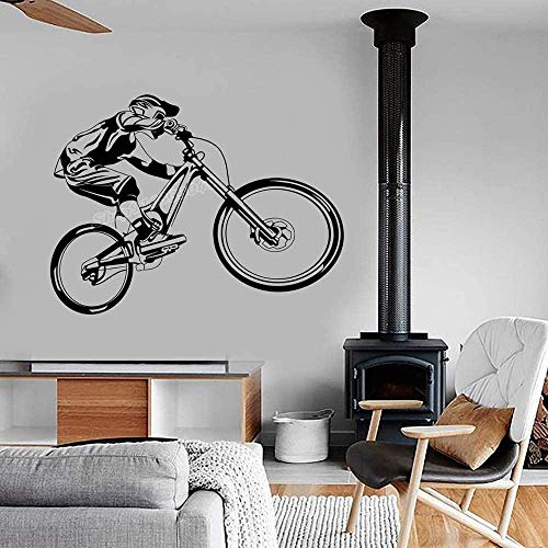 yyyhhh Mountain Bike Vinyl Wall Sticker Extreme Sports Bike BMX Bike Off-Road Wall Sticker Modern Garage Home Bedroom Decoration 56X42CM
