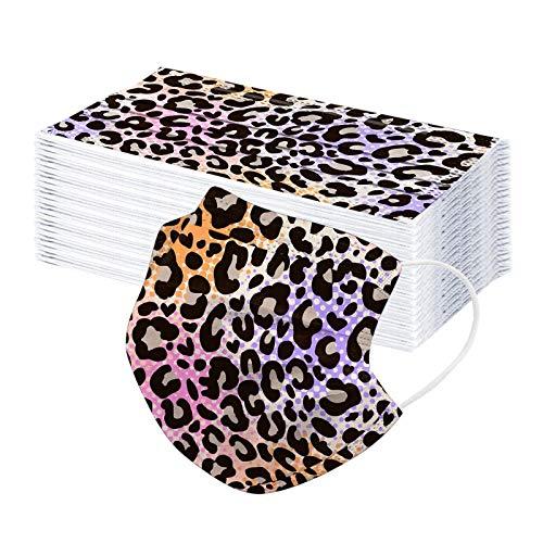 50 Stück Einweg Mund und Nasenschutz Leopard Drucken Einmal-Mundschutz Atmungsaktiv Mundbedeckung Bandana 3-lagig Bedeckung Multifunktionstuch Staubs-chutz Halstuch (50pc, Lila)