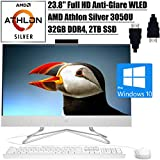 "HP 24 All-in-One 2020 Flagship Desktop Computer I 23.8"" FHD Anti-Glare WLED I AMD Athlon Silver 3050U Processor I 32GB DDR4 2TB SSD I DVD-Writer Pop-Up Webcam WiFi HDMI Win 10 Pro + Delca HDMI"