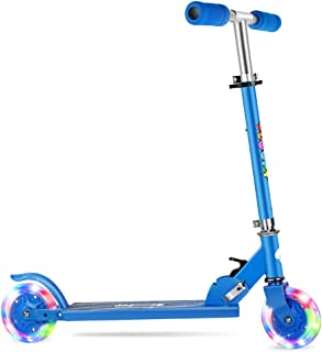 BELEEV Folding Kick Scooter for Kids 2 Wheel Scooter for Girls Boys, CSPC&ASTM Safety Certified, 3 Adjustable Height, PU LED Light Up Wheels for Children 4 Years and up