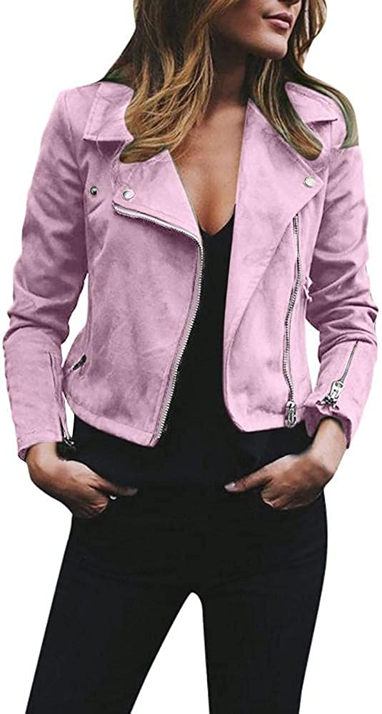 Kcocoo Women's Suede Faux Leather Belted Motorcycle Jacket Casual Asymmetrical Zip Up Lightweight Plain Outwear Slim Fit Coat
