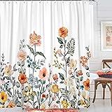 Ollt Plant Floar Duschvorhang, Aquarell Blumen Und Blätter Gardinen Mit Haken, Polyester Stoff wasserdichte Bad Gardinen 180x200cm