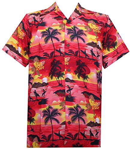 Hawaii-Hemden für Herren, Allover Papagei, Camp, Party, Aloha, Urlaub, Strand, kurzärmlig - Rot - X-Groß
