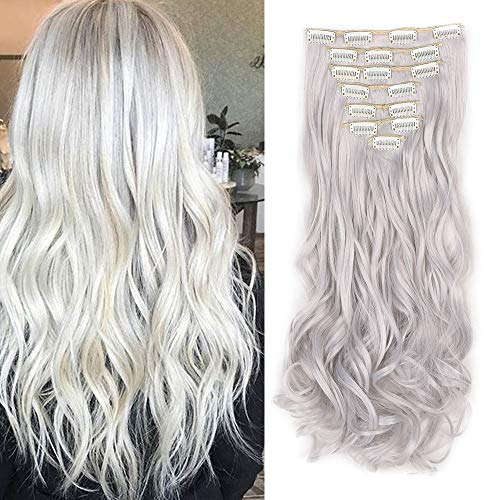 Extensiones de Clip de Pelo Natural 8 Piezas Extensiones de Cabello Rizadas Postizo Largo Full Head Clip in Hair Extension (Gris-plata)