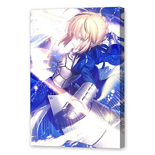 ZJYSM Fate Saber Altria Pendragon Anime (3) Decorative Painting Canvas Wall Art Living Room Posters Bedroom Painting 08x12inch(20x30cm)