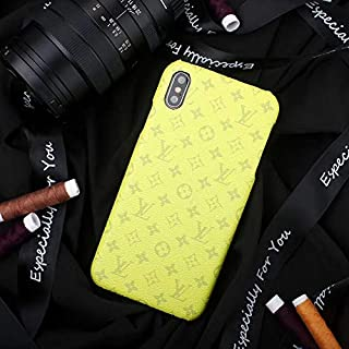 Phone Case for iPhone XR, Luxury Designer Classic Monogram Leather Back Soft TPU Bumper Protective Case for iPhone XR