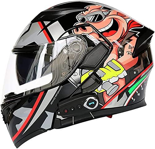 Casco De Motocicleta De Cara Completa Para Hombre Y Mujer, Casco De Motocicleta De Cara Completa Modular Con Bluetooth, Casco De Scooter De Motocicleta Para Adultos Con Protección C,XL