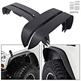 ECOTRIC Textured Black Heavy Duty Solid Flat Fender Flares Mud Guards Front & Rear for 2007-2018 Jeep Wrangler JK & Unlimited (4PCS Set!!!)