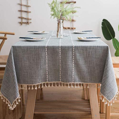 Pahajim Tischdecke Quaste Baumwolle Leinen Elegante Tischdecke waschbare Küchentischabdeckung für Speisetisch (Mode Grau, Runde, 140 x 140 cm, 4 sitzes)