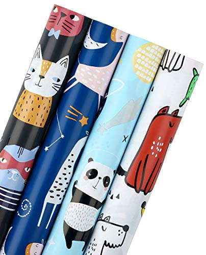 WRAPAHOLIC Birthday Wrapping Paper Roll - Cute Animals Cat Dog with Cut Lines for Baby Showers - 4 Rolls - 30 inch X 120 inch Per Roll