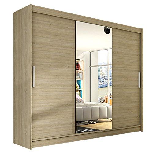 Modernes Kleiderschrank Aston 250 mit Spiegel, Schwebetürenschrank, Schlafzimmerschrank, 250 x 215 x58 cm Schiebetürenschrank, Garderobe, Schlafzimmer (Sonoma)