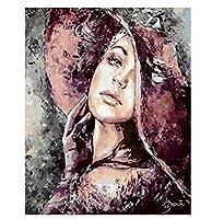 番号によるDIY絵画キャンバスキット女性番号によるユニークなギフト 写真肖像画家の装飾40×50cm(フレームなし)
