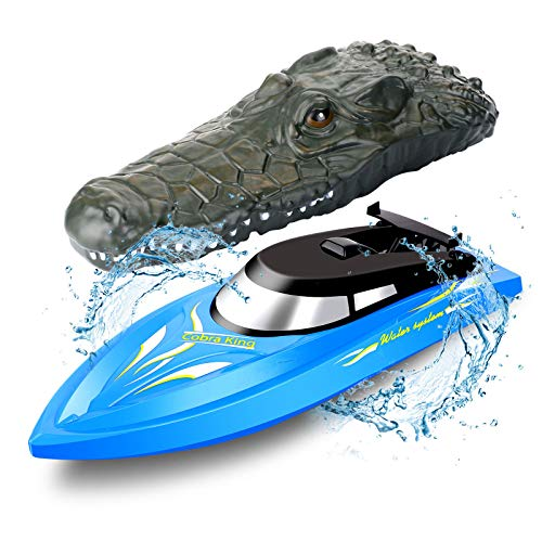 Kids RC Boat Remote Control Boat for Pool Lake Pond 10KM/H Mini Speed Boat 2.4GHZ High Speed Electric Water Racing Boat with Crocodile Head Prank Toy for Boys Girls