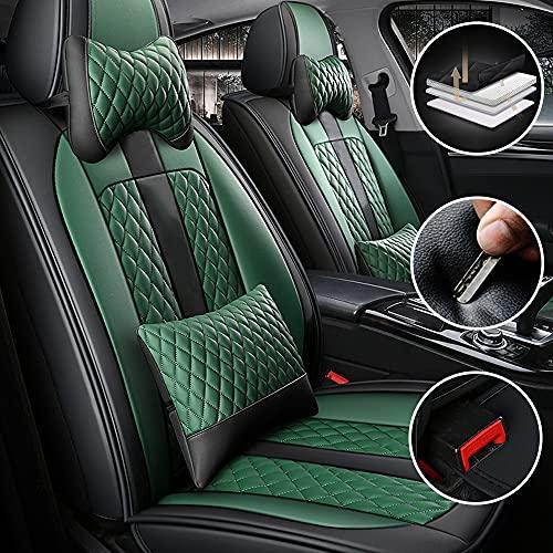 Universal Fundas Asientos Coche PU Leather Lujo Delanteros 2 Asientos para Land Rover Discovery 3 4 5 Range Rover Velar Freelander Defender Funda Asientos Cubreasiento(Negro Verde)