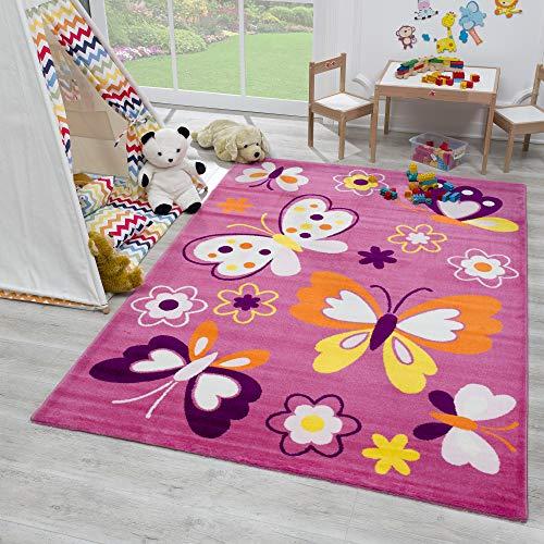 SANAT Teppich Kinderzimmer - Rosa Kinderteppich für Mädchen und Jungen Öko-Tex 100 Zertifiziert, Größe: 80x150cm
