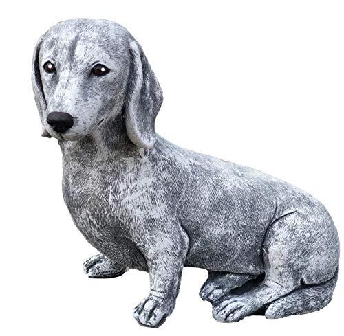 Steinfigur Dackel Hund frostfest wetterfest Gartenfigur Stein