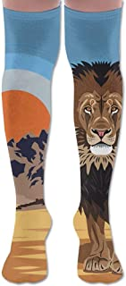 Mountain Lion King Sunset Hiking Adult Knee Thigh Calcetines