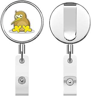 Kiwi Bird Cartoon Round ID Badge Key Card Tag Holder Badge Retractable Reel Badge Holder with Belt Clip